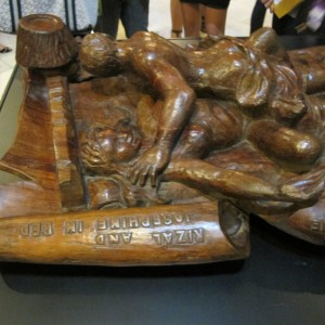 wood sculpture of Rizal & Josephine in bed by Napoleon Abueva